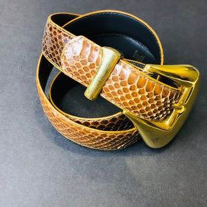 Accessories - Vintage Magid Brown Gold Snakeskin Belt